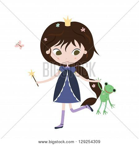 Princess and frog. Cute little princess with frog toy in her hands. Vector illustration isolated on white background.