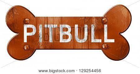 Pitbull, 3D rendering, rough brown dog bone