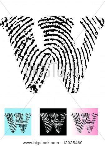 Fingerprint Alphabet Letter W