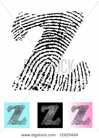 Fingerprint Alphabet Letter Z