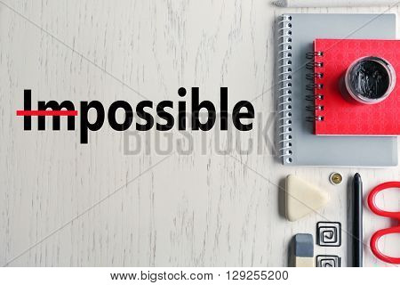 Word impossible transformed into possible and office supplies