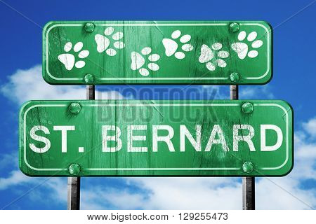 St. bernard, 3D rendering, rough green sign with smooth lines