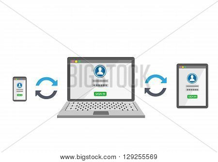 Sync devices with login template on white background