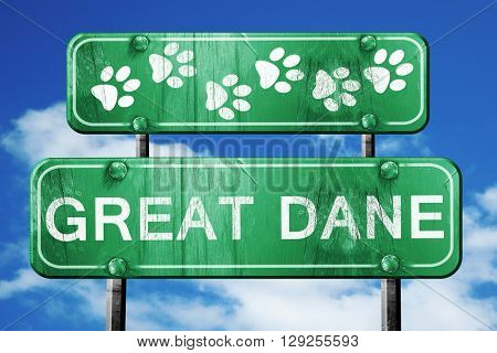 Great Dane, 3D rendering, rough green sign with smooth lines