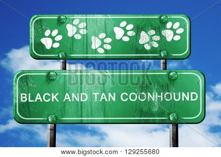 Black and tan coonhound, 3D rendering, rough green sign with smo