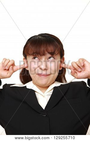 Asian businesswoman suffers from noise on white background