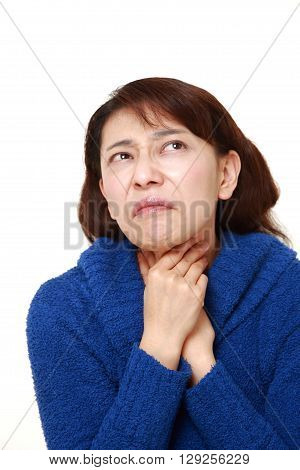 portrait of Asian woman having throat pain on white background