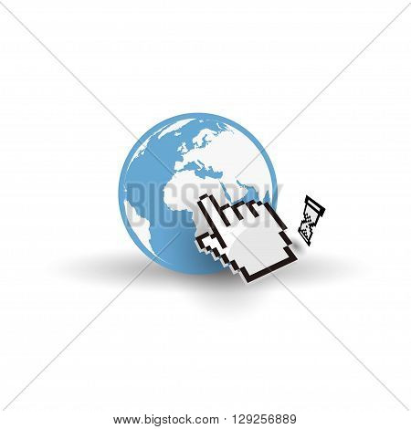 Internet earth globe with mouse hand cursor and hourglass