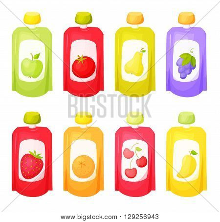 Juice package set. Fruit purees. Healthy fruit purees snack in packaging. Fruit juise in packing. Apple, orange, tomato, grape, pear, mango, cherry, pear juice in pack. Baby food. Drink fruit purees