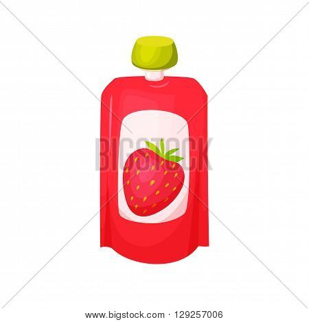 Strawberry juice package. Fruit strawberry purees. Healthy fruit purees snack in packaging. Fruit juise in packing. Strawberry juice in pack. Baby food. Drink fruit purees. Strawberry jam.