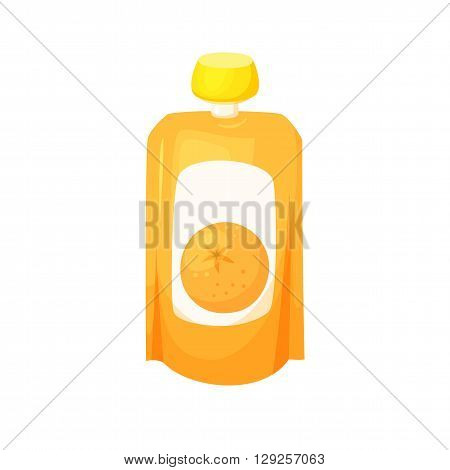 Orange juice package. Fruit orange purees. Healthy fruit purees snack in packaging. Fruit juise in packing.Orange juice in pack. Baby food. Drink fruit purees. Orange jam.