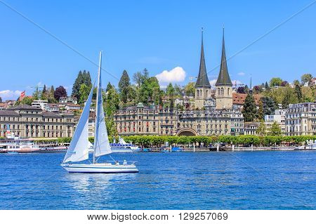 Lucerne, Switzerland - 8 May, 2016: view on Lake Lucerne from the Bahnhofquai quay. Lake Lucerne (German: Vierwaldstattersee) is a lake in central Switzerland, the fourth largest in the country. Lucerne is a city in central Switzerland.