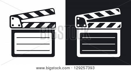 Vector clap board icon. Two-tone version on black and white background