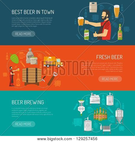Brewery Flat Concept. Brewery Horizontal Banners. Brewery Vector Illustration. Brewery And Beer Set. Brewery Design Symbols. Brewery Elements Collection.