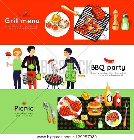 Grilled meat and vegetables menu at picnic barbecue party 3 flat horizontal banners set abstract isolated vector illustration