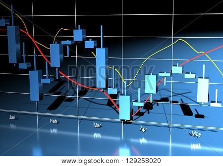 Commodity forex trading chart on a blue background