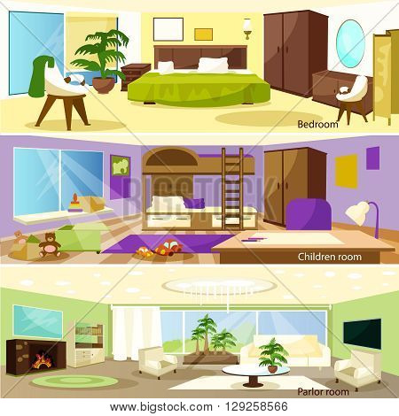 Horizontal colorful cartoon bedroom children and parlor room banners vector illustration
