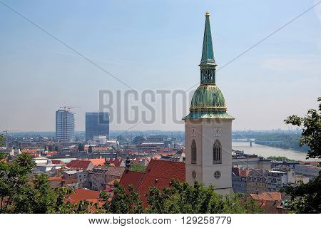 Bratislava, Slovakia - May 29: Tower of St. Martin's Cathedral on May 29, 2015 in Bratislava in Slovakia