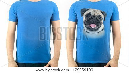 T-shirt design concept - man in blank t-shirt and man in t-shirt with print of his dog