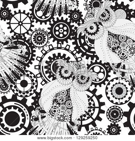 Abstract Machine pattern. Seamless mechanism texture. illustration with cogwheels and mechanical parts. Black gears, steampunk seamless pattern with owls