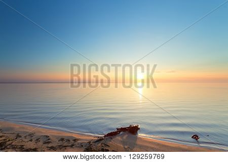 Early summer morning bright sky  Beach photo