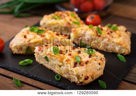 Soda Scones (bread)  With Ham, Cheese And Chives. English Cuisine.