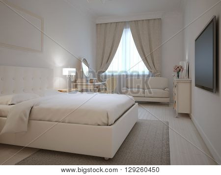 Spacy interior of neoclassic bedroom. 3D render