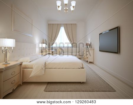Design of ecru bedroom. Large doble bed with bedside tables of both side. Light furniture. 3D render