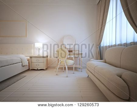 Bright interior of guest bedroom with dressing table and sofa. 3D render