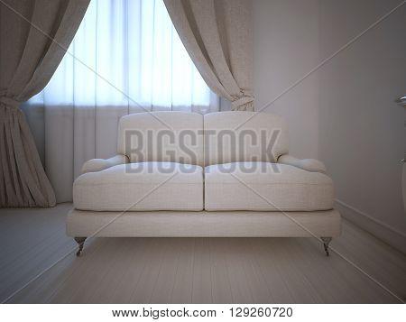 Single sofa in room daylight. 3D render
