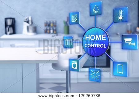 Smart home control concept. Modern kitchen interior with white furniture