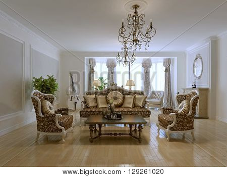 Design of rich living room. Two armchair sofa with golden pillows low coffe table in dark brown. Patterned furniture. 3D render