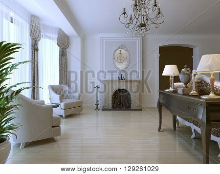 Lounge with two armchair and fireplace in neoclassical style with using of light parquet flooring. Natural umber color console with decorations and lamps. 3D render