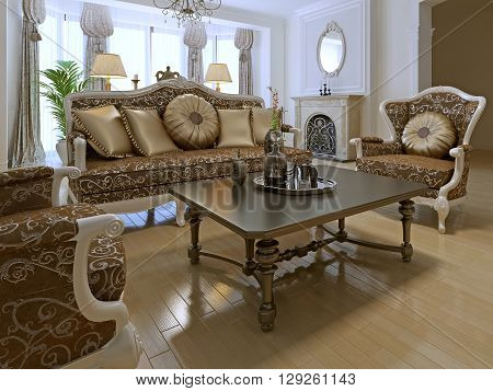 Elegant lounge room in private house with using of antique furniture of golden colors. 3D render