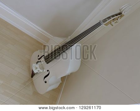 Single violoncello snowy-white color near white'n'grey molding wall. 3D render