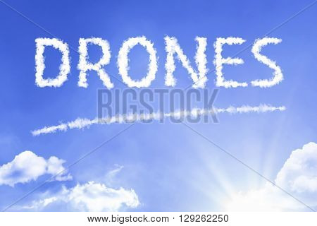 Drones cloud word with a blue sky
