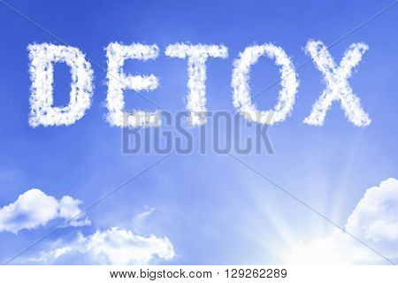 Detox cloud word with a blue sky