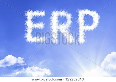 ERP cloud word with a blue sky