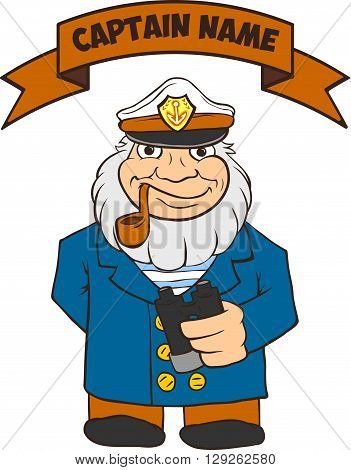 Sea Captain is a full-length holding binoculars. There is room for text. Cartoon of pirate captain.