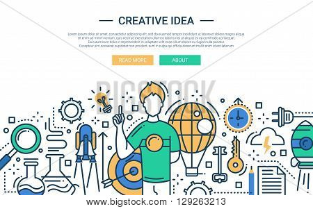 Illustration of vector modern line flat design website banner, header with  guy having a creative idea