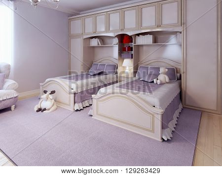 Art deco bedroom design. Child room for two. Purple walls and carpet. cream furniture and wall system. 3D render