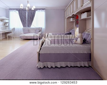 Children bedroom with sofa and desk. Tick pile carpet spacy room with purple theme. 3D render