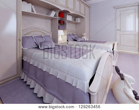 Luxury single bed in bedroom with wall system. Light colors relaxing. 3D render