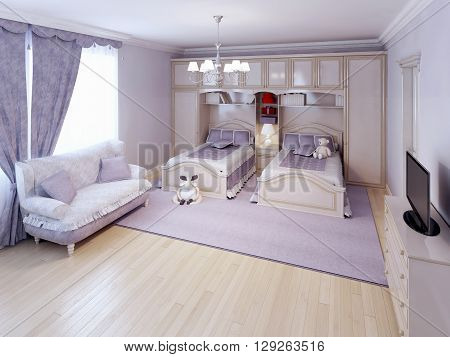 Idea of neoclassical bedroom in purple color. 3D render