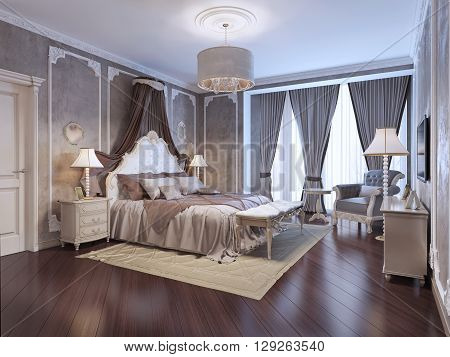 Expensive interior of bohemian bedroom. Luxury bedchamber textured wall with molding mahogany parquet flooring. 3D render