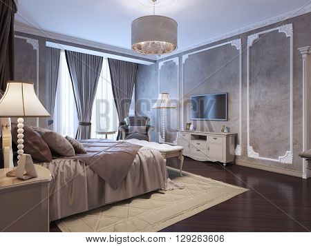 Guest bedroom classic style with medium taupe textured walls and mahogany wood parquet. 3D render
