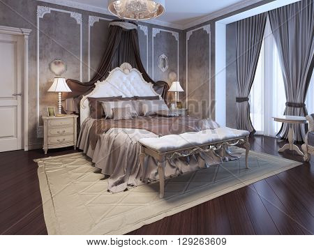 Luxury interior of art deco bedroom. Exclusive bed with white headboard and curtains dressed with pillows. Soft cream bench on cotton carpet. 3D render