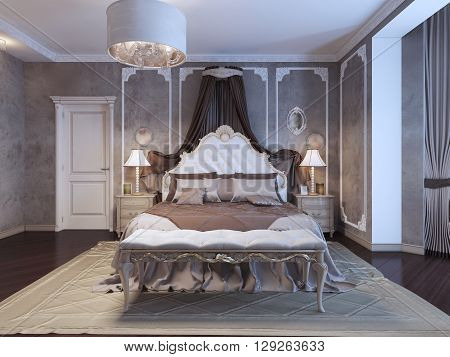 Neoclassical bedroom with frame molding on walls. 3D render