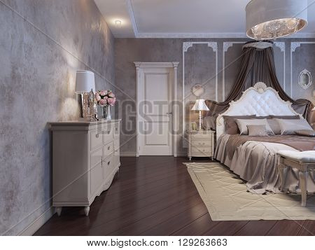 Bedroom in rich house bohemian trend. 3D render