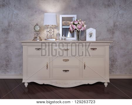 Single dresser near wall in bedroom. An elegant dresser with silver handles. Table clock a vase of flowers a mirror a flask and a table lamp with a white shadow. 3D render